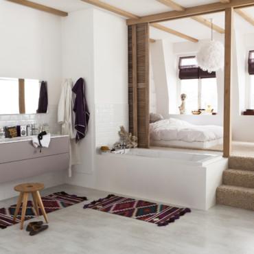 Chambre ouverte sur la salle de bain par leroy merlin Salle de bain ouverte sur la chambre