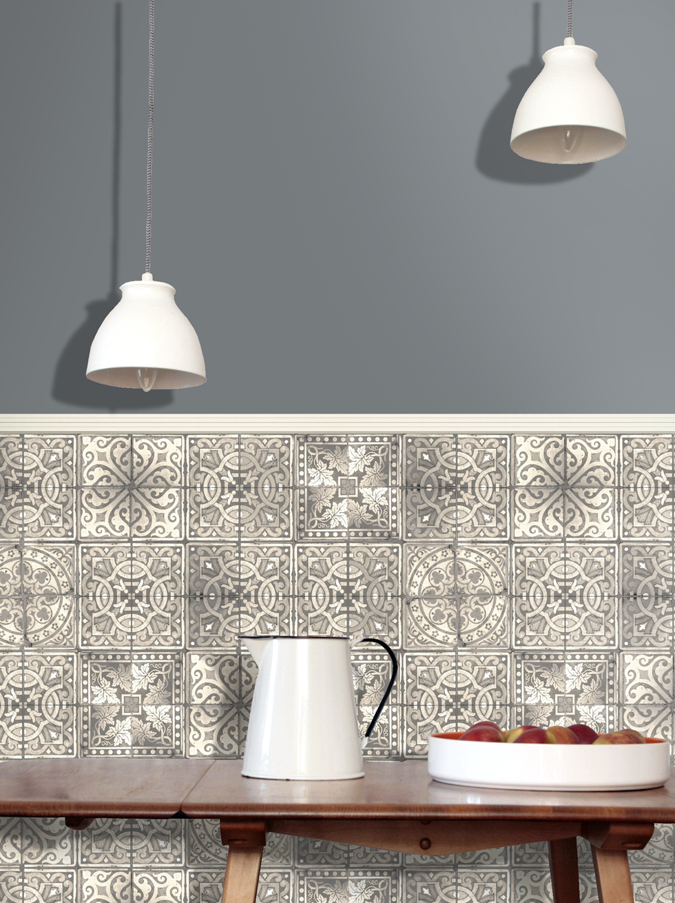 ... -peint-carrelage-cuisine-louise-body-patchwork-grey-tile-wallpaper