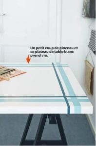 IKEA 2015 plateau de table peint motif torchon