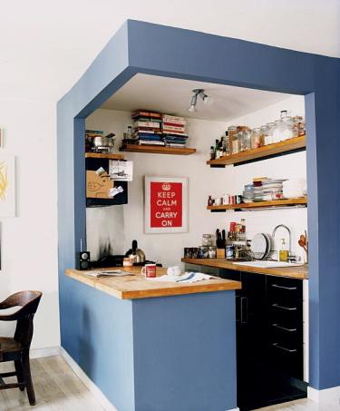 Cuisine ouverte boite bleue pinterest benjamin moore for Cuisine ouverte bruit